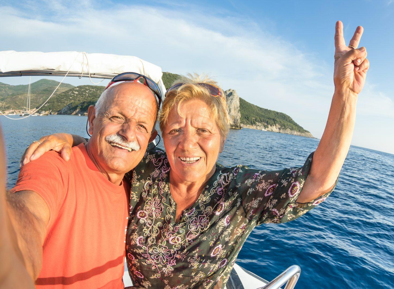 snowbird senior couple on vacation