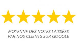 Moyennes des notes laissés par nos clients sur Google : 5 étoiles
